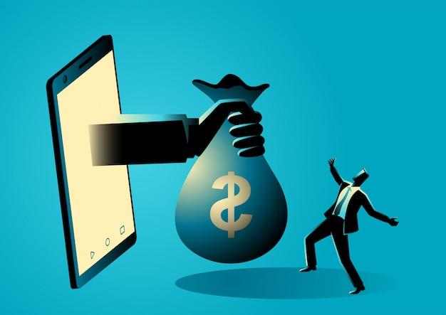 La borsa dei soldi della tenuta della mano esce dallo schermo dello smart phone