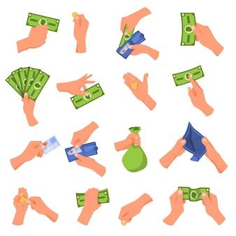 Insieme dell'illustrazione dei soldi della holding della mano Vettore Premium