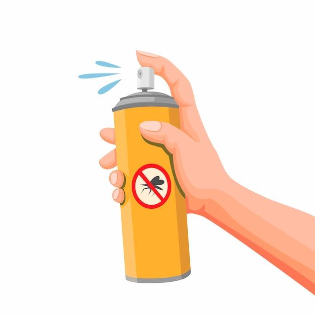 Mano che tiene spray antiparassitario, bomboletta spray antizanzare. illustrazione del fumetto di concetto su fondo bianco