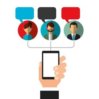 Le bolle del telefono della tenuta della mano parlano i media sociali della gente
