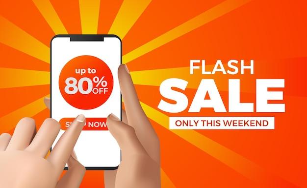 Mano che tiene il telefono per mega modello di banner di vendita flash