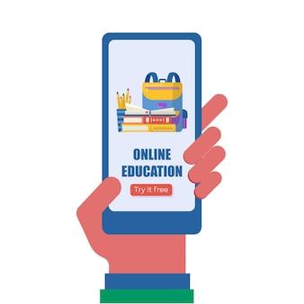 Mano che tiene il telefono con l'app per il concetto di istruzione online. libri e mappamondo per la promozione del ritorno a scuola. modello di vettore per banner, invito, pagina di destinazione. vecro.