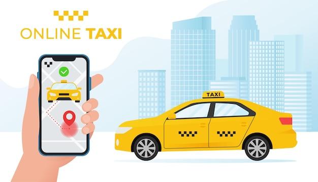 Mano che tiene il telefono con il concetto di servizio taxi online con l'illustrazione gialla dell'auto taxi in stile piatto