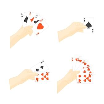 Mano che tiene insieme di carte da gioco. tempo libero al casinò per vincere o perdere.