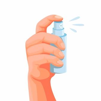 Mano che tiene la bottiglia spray tascabile, simbolo per profumo o prodotto disinfettante. concetto nell'illustrazione del fumetto isolata nel fondo bianco