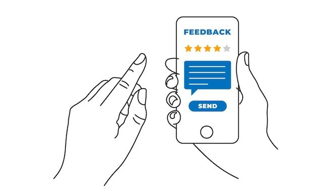 Mano che tiene e indica il cellulare dello smartphone con cinque stelle sullo schermo e invia un messaggio. feedback, valutazione e concetto di recensione. illustrazione di vettore di linea eps10
