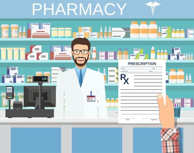 Mano che tiene un modulo di prescrizione rx.