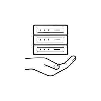 Icona di doodle di contorni disegnati a mano del server che tiene la mano. hosting di server, servizi di web hosting, concetto di server web