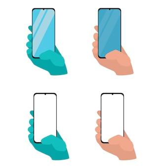 Mano che tiene smart phone isolato su sfondo bianco impostare l'illustrazione del modello di applicazione di a