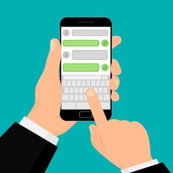 Mano che tiene smartphone in chat e messaggistica. illustrazione design piatto