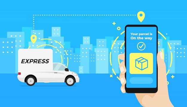 Passi la tenuta dello smartphone e il controllo dello stato dell'automobile di consegna del pacco.