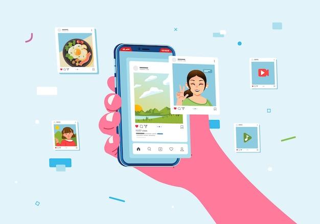 Mano che tiene smartphone e attività di pubblicazione sui social media, interazioni sui social media online.