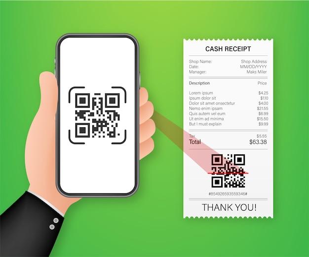 Mano che tiene lo smartphone per scansionare il codice qr su carta per i dettagli. illustrazione di riserva di vettore.