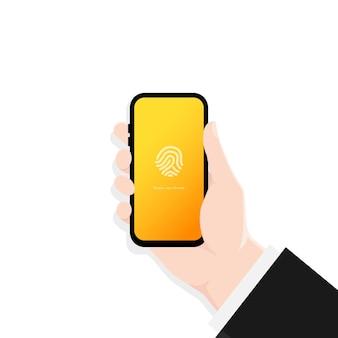 Mano che tiene l'interfaccia del codice di accesso del blocco dello schermo dello smartphone o touch id