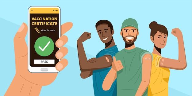 Mano che tiene lo smartphone che mostra vaccinato. persone felici che mostrano le braccia dopo aver ricevuto la vaccinazione covid-19.