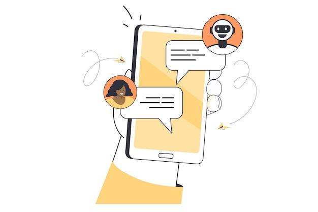 Mano che tiene smartphone con chat bot sullo schermo