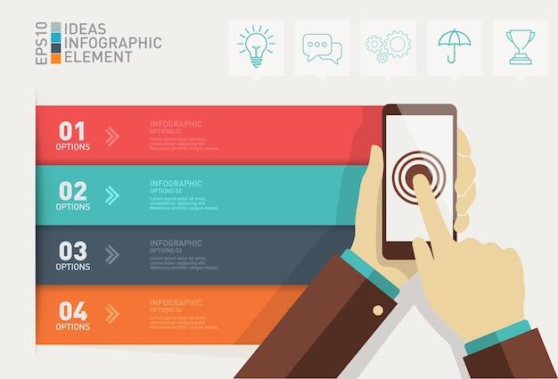 Mano che tiene smartphone con affari infographic