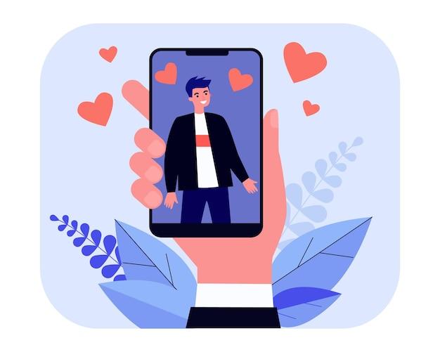 Mano che tiene smartphone con foto dell'uomo. come, cuore, illustrazione vettoriale piatto cellulare