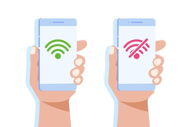 Mano che tiene smartphone senza segno wifi e buona connessione wifi.