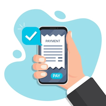Mano che tiene smartphone con fattura di pagamento in un design piatto. smartphone pagamento per le ricevute. pagamento online