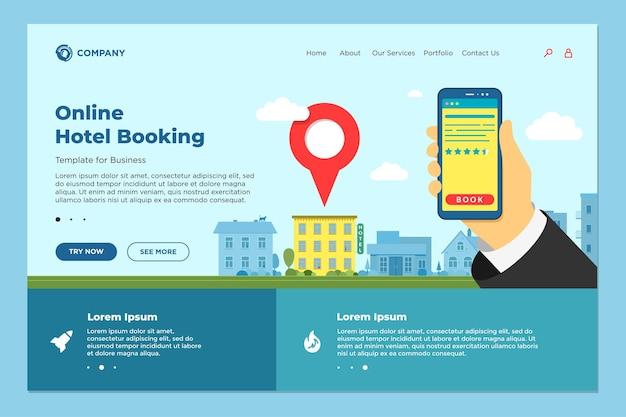 Mano che tiene smartphone con recensione di valutazione alla ricerca di hotel e prenotazione pagina di destinazione online. ostello per app mobile che cerca l'interfaccia dell'applicazione dettagliata e di prenotazione. modello di web design vettoriale eps