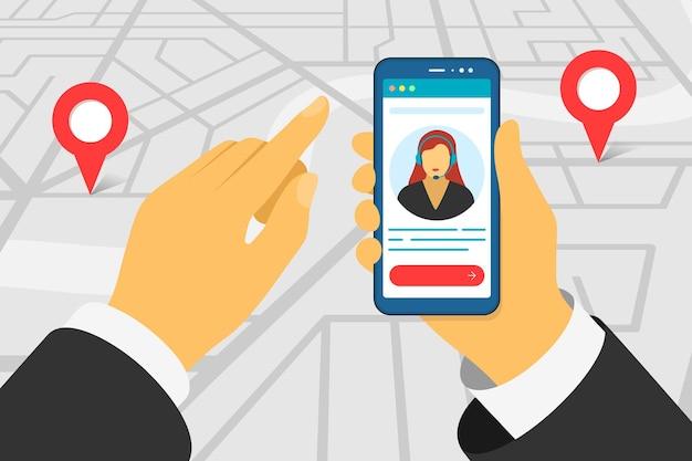 Mano che tiene lo smartphone con l'avatar dell'assistente di supporto dell'app di monitoraggio della consegna del monitoraggio del trasporto acceso