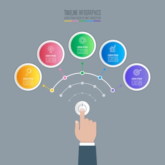 Tasto di avvio della mano con timeline infographic 5 opzioni.