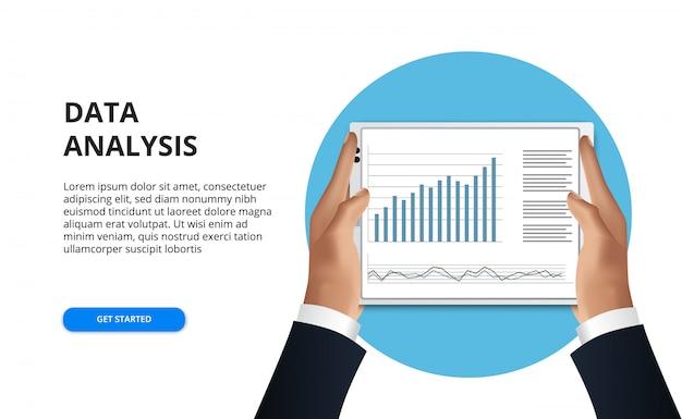 Compressa della tenuta della mano. uomo d'affari leggere foglio di calcolo di analisi dei dati per relazione finanziaria con grafico e grafico
