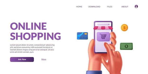 Mano che tiene e tocca lo smartphone mobile carino 3d con l'e-commerce dell'app del negozio. concetto di illustrazione dello shopping online con icona 3d.