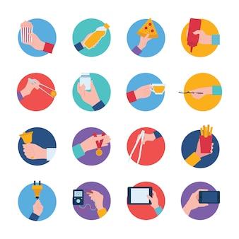 Pack di icone di partecipazioni a mano