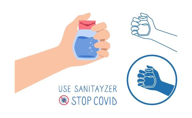 La mano tiene il set di gel antibatterico e antivirale