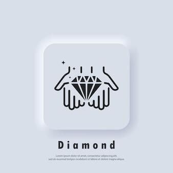La mano tiene il diamante. icona della linea del concetto di valore. gemma di diamante in icona a mano, cristallo di lusso o brillante, gioiello di contorno. vettore eps 10. pulsante web dell'interfaccia utente bianco neumorphic ui ux. neumorfismo