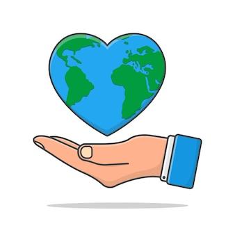 La mano tiene l'illustrazione dell'icona della terra di amore. icona piana di earth day. salva la terra