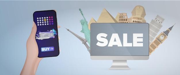 Una mano tiene un telefono cellulare con l'applicazione per l'acquisto di biglietti aerei.