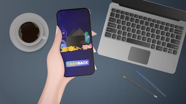 La mano tiene il telefono con cashback. portafoglio marrone con carte di credito e monete d'oro. il concetto di risparmio e accumulo di denaro. buono per presentazioni e articoli su un argomento aziendale.