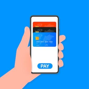 La mano tiene il telefono con metodi di pagamento contactless mobile su sfondo blu