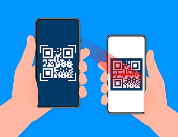 La mano tiene il telefono con scansione del codice qr per pagare sullo schermo
