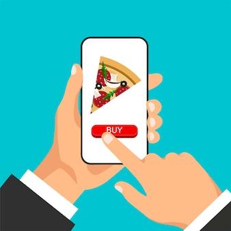 La mano tiene lo smartphone e ordina la pizza online. fetta di pizza sul display del telefono.
