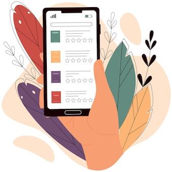 La mano tiene lo smartphone con la biblioteca elettronica libro di lettura della biblioteca digitale online