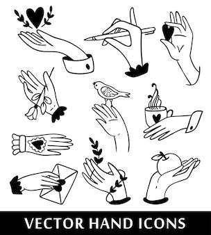 Illustrazione della raccolta delle icone della mano Vettore Premium