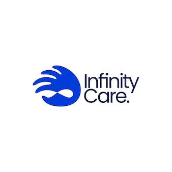 Illustrazione dell'icona di vettore del logo di aiuto donazione di cure illimitate di mobius dell'infinito della mano