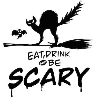 Gioco di parole di halloween con lettere a mano, illustrazione, scarabocchi disegnati a mano carini, ciascuno su un livello separato.