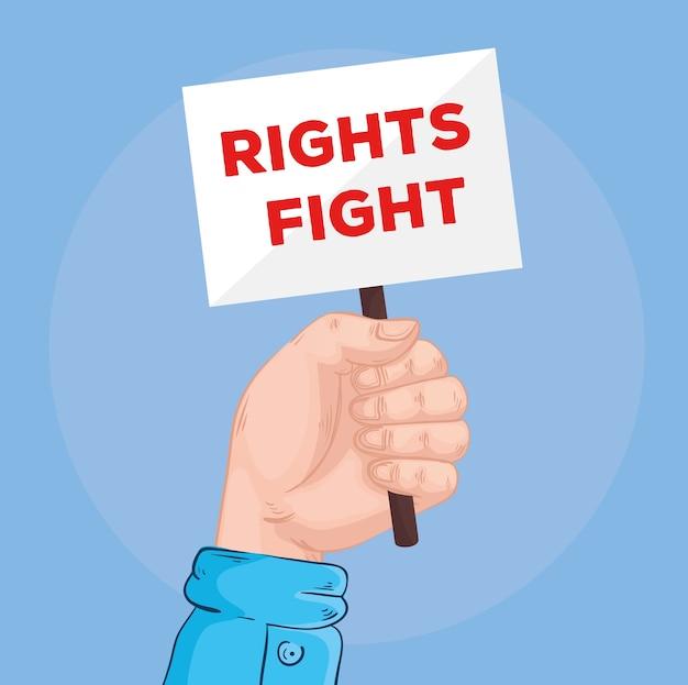 I diritti di sollevamento della mano combattono le scritte nel design del banner