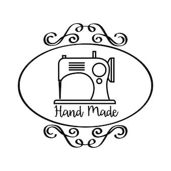 Emblema fatto a mano con emblema dell'annata e icona della macchina da cucire