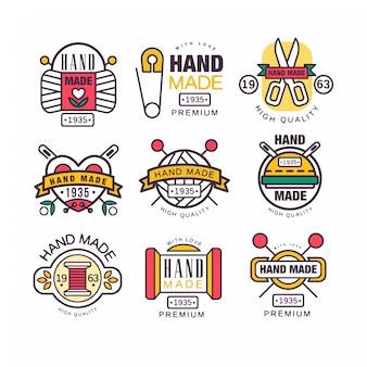 Illustrazioni di vettore di etichette fatte a mano, a maglia e su misura
