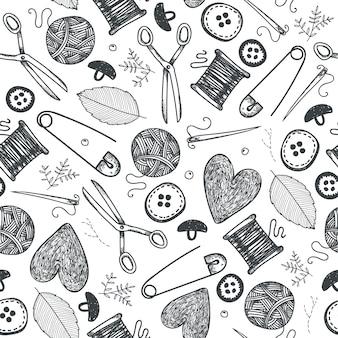 Oggetti fatti a mano, modello senza cuciture dell'attrezzatura. fondo disegnato a mano delle icone di scarabocchio di cucito e del ricamo. oggetti isolati d'epoca. aghi, forbici, maglieria, cuori