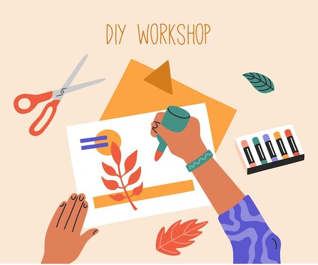 Processo fatto a mano, laboratorio creativo, vista dall'alto. corsi educativi per bambini. illustrazione disegnata a mano in stile piatto alla moda del fumetto,