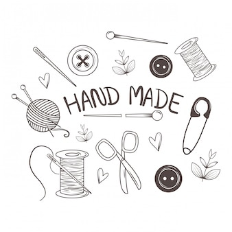 Icone stabilite di cucito fatto a mano