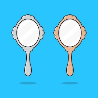 Specchio a mano isolato sull'azzurro