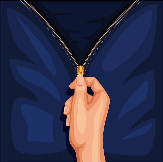 Mano aperta zip abbigliamento jeans o giacca simbolo concetto nell'illustrazione del fumetto